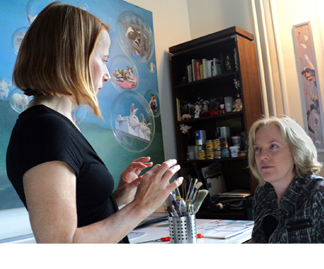 Almitra (left) in the studio with Jane O'Hara.